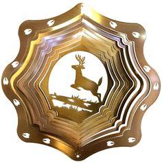 """12"""" Deer 3D - Copper Starlight Wind Spinner. #deer #reindeer #copper"""