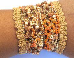 Beaded cuff bracelet crochet bracelet freeform by CoffyCrochet