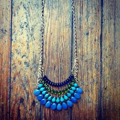 Four strand teardrop fringe necklace. Cool and different!