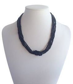 Love Knot Black A$19.50 Crochet Necklace, Beaded Necklace, Knots, Artisan, Jewelry Making, India, Beads, Accessories, Collection
