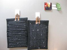 Love these sashiko pot holders. By Peapod Journal.
