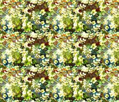 WHITE VIOLETS FEAST OF BLOSSOM Moss Green fabric by paysmage on Spoonflower - custom fabric