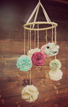 Custom Fabric Chandelier Extra Large Pom. Could make this for over the babys crib!
