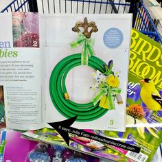 """My """"garden Hose Wreath"""" featured in Birds & Blooms Aug./Sept. 2014 issue…here's how you can make your own!  redeadcandecorate.com"""