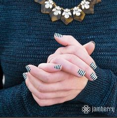 Black and White Stripe! Everyone needs a classic black and white manicure. Why not choose your favorite one today at http://traceycurtis.jamberrynails.net/shop Fashionable Nail Art has never been so easy or looked so good!!