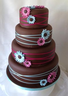 Funky bright gerbera daisy wedding cake