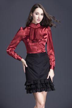 Ruffled satin blouse