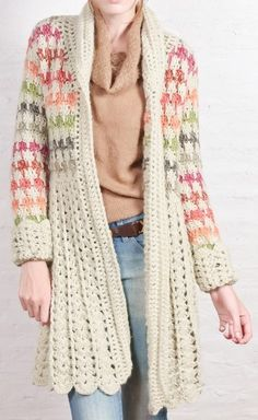 Gilet Crochet, Crochet Coat, Crochet Jacket, Freeform Crochet, Crochet Cardigan, Crochet Scarves, Crochet Clothes, Knitted Coat, Hippie Crochet