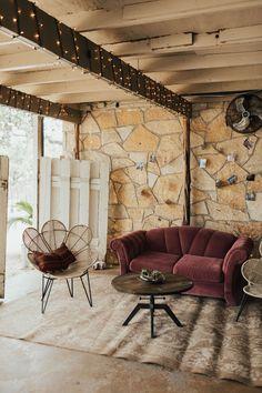 Pink Vintage Couch, Brown Coffee Table, Jute Flower Chairs P. Jute Flowers, Brown Coffee, Texas Hill Country, Tree Lighting, Twinkle Lights, Vintage Pink, Lp, Wedding Venues, Chairs
