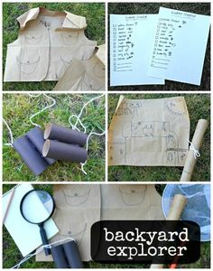 Backyard explorer outside activity for kids~ How fun! The children can make their own sets from items around the house with some help.