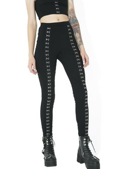 Lights Out Hook Leggings yew knock 'em out every time, babe! Be da numba 1 stunna in these pants that feature a comfy black construction, curve-huggin' mid rise fit, and silver hook clasps goin' down the front of yer legz.