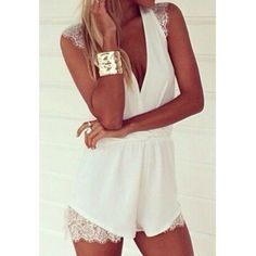 Sexy Plunging Neck Sleeveless Lace Embellished Solid Color Women's Romper