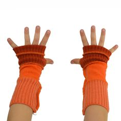 Kids Arm Warmers in Mandarine Tangerine Orange  by mirabeans