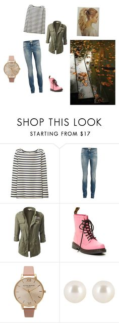 """""""Raining day"""" by dina-roussou ❤ liked on Polyvore featuring Uniqlo, SELECTED, Dr. Martens, Olivia Burton, Henri Bendel and GE"""