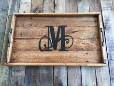 Monogrammed serving tray Serving Tray Wood by MtnMetalWorks