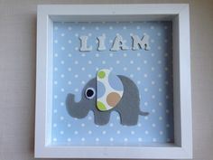 Baby boys gift personalised origami elephant keepsake frame an handmade personalized frame boy name newborn gift liam new baby boy ideal for babyshower negle Images