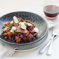 Pan-Fried Lamb Fillets with Beetroot, Kale and Bulgur Salad and Caper Aioli