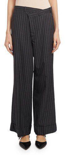 Monse Cropped Wide-Leg Pinstripe Pants