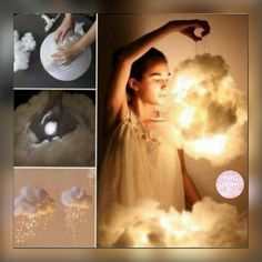 DIY glowing cloud  You take a paper latern, stick a battery light onto it, then glue cotton wool onto it. Tie a string on and hang it from your ceiling. ☁ Its more of a figure it out as you go along DIY, but there are more detailed videos on Youtube. try looking up Man vs. Pin  This is amazing  #DIY #roomdecordiys