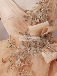 Princess V-neck Floor-length Tulle Beading Backless Champagne Ruffle Wedding Dresses [36WDTU6568] - US $799