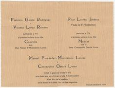 Invitación de boda de Manuel Fernández-Montesinos Lustau y Concepción García Lorca (1929). Fondo José Fernández-Montesinos.  http://bvirtual.bibliotecas.csic.es/csic:csicalepharc000088547