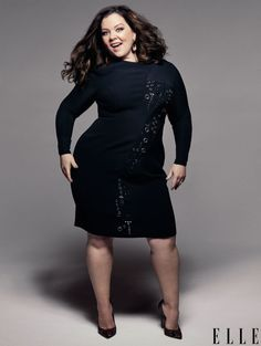 Melissa McCarthy or ELLE July 2016 || Dress by Versace, Earrings by De Grisogono, Pumps by Brian Atwood || Photo by Mark Seliger, Styled by Samira Nasr