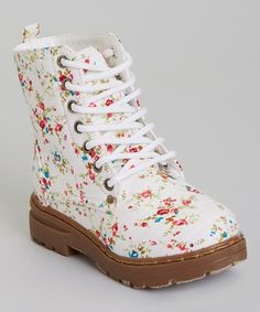 Take a look at this White Flower Boot on zulily today!