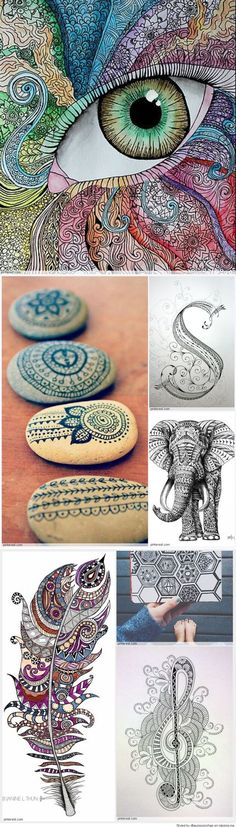 Zentangle Patterns & Ideas - the eye is weird, but I like some of the others. Zentangle Drawings, Doodles Zentangles, Art Drawings, Doodle Patterns, Zentangle Patterns, Zen Doodle, Doodle Art, Tangle Art, Wow Art