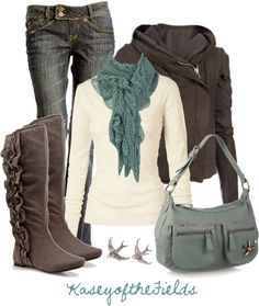Cozy fall outfit.  Sable, white, blue.