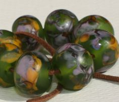 Lampwork Glass Beads Set of 8  Green Orange от GlassNatalyaDarlin