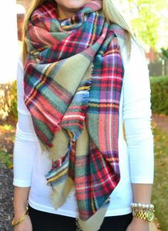 #fall #fashion / tartan scarf + white knit