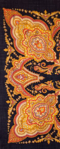 Small Russian shawl with oriental ornament Textile Patterns, Textile Prints, Textile Design, Textiles, Paisley Design, Paisley Pattern, Folk, Fabric Rug, Wool Scarf