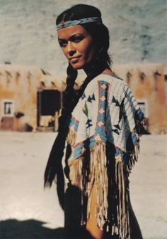 "Winnetou's sister ""Nscho-tschi"" in the movie ""Apache Gold"" (Germany 1963 ) - played by Marie Versini aka Claire Morandat"