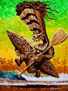 """Surf's Up Tiki""  24x18 Original Acrylic  on Gallery Wrap Canvas"