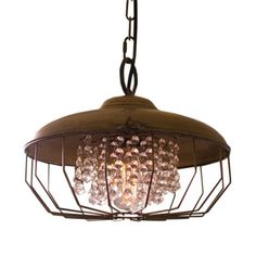 ANTIQUE GOLD HARDWARE PENDANT LAMP WITH GEMS