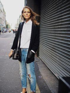 Street Style   Blazer, White Button Down, Distressed Denim