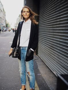 Street Style | Blazer, White Button Down, Distressed Denim