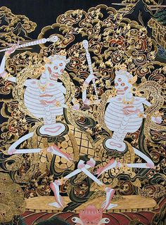 The Lords of the Cemetary, said to represent one of seventy-five forms of Mahakala. According to Buddhist legend, the Citipati were originally a pair of ascetics who became so lost in profound meditation they failed to notice a thief cutting off heir heads.