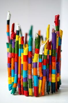 Colorful Twigs Candle Holder