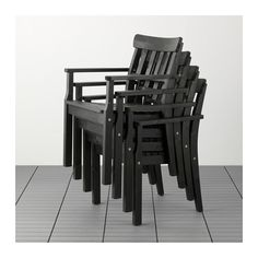 $75 cushions available ÄNGSÖ Chair with armrests, outdoor - black-brown stained, - - IKEA