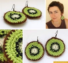 crafty jewelry: kiwi earrings, free crochet patterns - crafts ideas - crafts for kids Crochet Jewelry Patterns, Crochet Earrings Pattern, Crochet Accessories, Crochet Gratis, Crochet Chart, Thread Crochet, Crochet Keychain, Yarn Crafts, Crochet Flowers