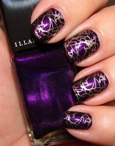 nails, purple and gold nail polish crackle
