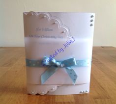 Bow front christening card, with vellum wrap