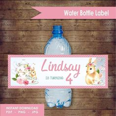 Tea Time water label design by EllieDesignsbyE on Etsy