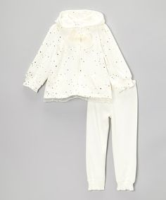 Cream Foil Polka Dot Zip-Up Hoodie & Pants - Infant & Toddler by Nannette Baby #zulily #zulilyfinds