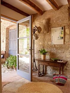 stone walls & entry table.