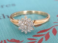 Vintage Diamond Cluster Engagement Ring 9k Yellow door fineNepic, $269.00