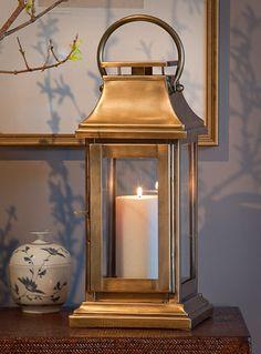 Brass Antique Square Lantern (Set of 2)