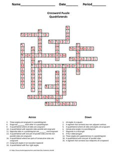 Geometry Vocabulary Crossword: Solids and Formulas - Features 23 ...
