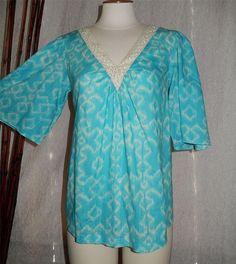 Michael Kors Michael Crochet VNeck Peasant Top, Kimono Sleeve, Turquiose Ikat M #MichaelKors #Blouse #Casual